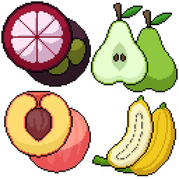 Premium Vector Pixel Art Isolated Fruits Cut Group