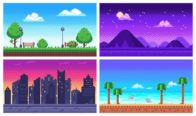 Пиксель арт пейзаж. летний океанский пляж, 8-битный городской парк, пиксельный городской пейзаж и горные пейзажи аркадная игра фон Premium векторы