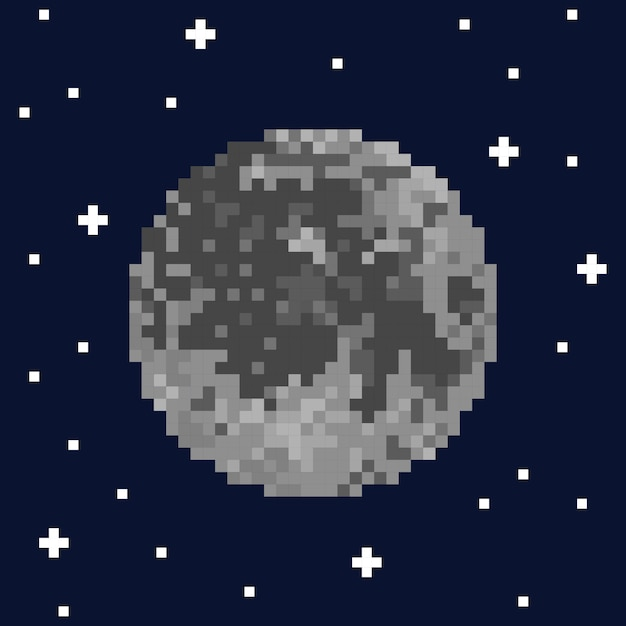Pixel art moon and stars. vector illustration Premium Vector