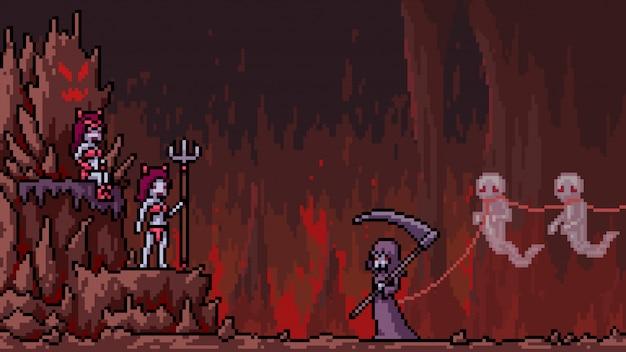 ピクセルアートシーン地獄の死神 Premiumベクター