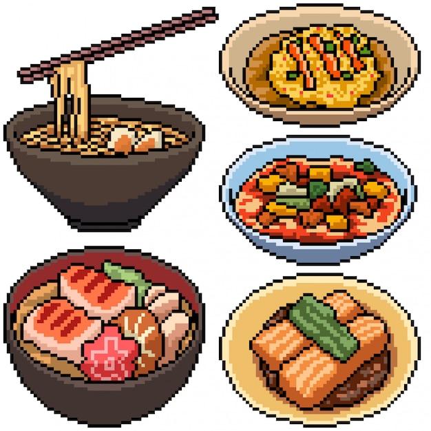 Premium Vector Pixel Art Set Isolated Asian Food