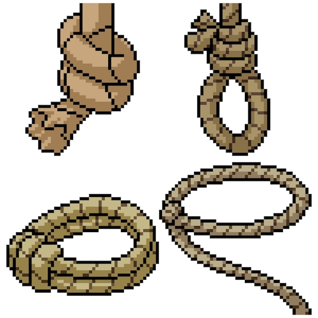 premium vector | pixel art set isolated cowboy rope  freepik