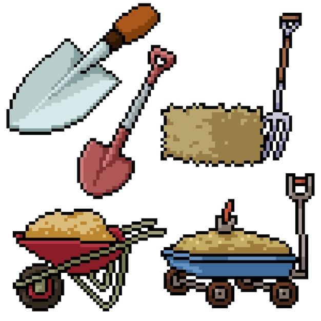 Пиксель арт набор изолированных сельскохозяйственных инструментов Premium векторы