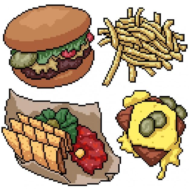 Premium Vector Pixel Art Set Isolated Junk Food Snack