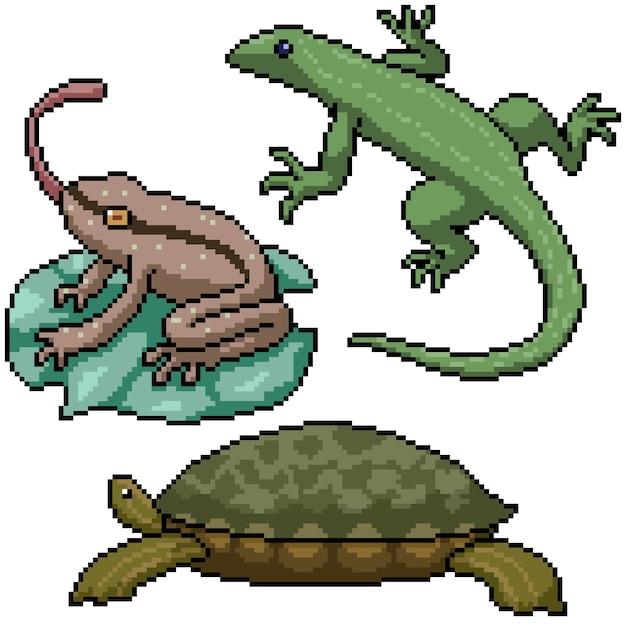 ピクセルアートセット分離小さな両生類爬虫類 Premiumベクター