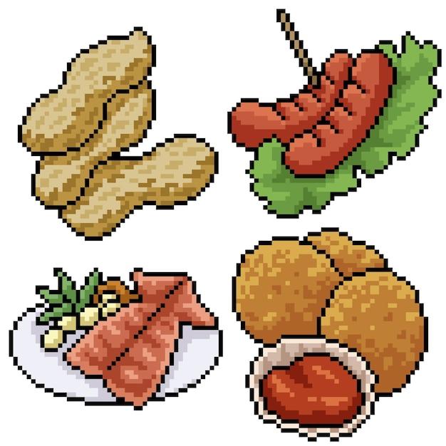 Pixel art set isolated snack meal Premium Vector