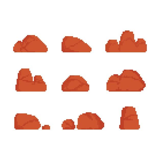 砂漠の石のイラストのピクセルアートセット。 Premiumベクター