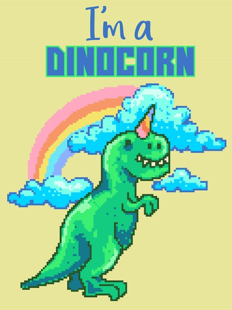 Pixel art vector illustration of cute dinosaur with rainbow, cloud and ice cream cone on the head. Premium Vector
