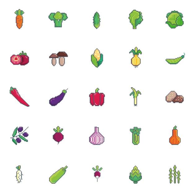 Pixel art vegetables set icon. Premium Vector