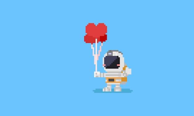 Pixel astronaut holding heart balloons Vector | Premium Download
