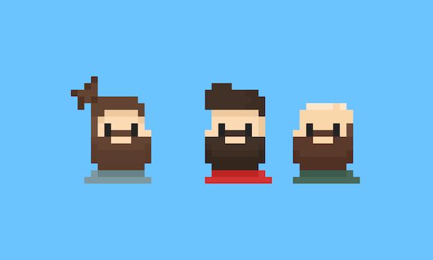 Pixel bearded man avatar Premium Vector
