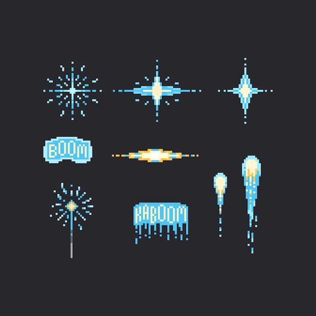 Pixel blue firework set Premium Vector