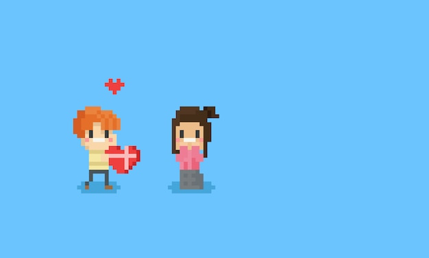 Pixel boy give a valentine heart to girl.8bit. Premium Vector