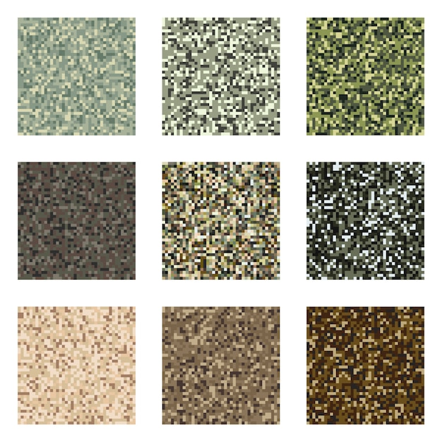 Pixel camouflage pattern set military textile Premium Vector
