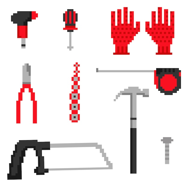 Pixel carpenter tools icons in vector Premium Vector