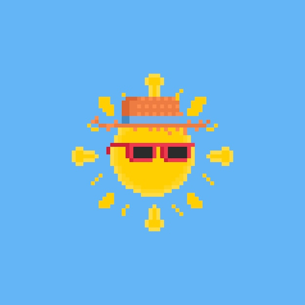 Pixel cartoon sun with pink sunglasses and hat Premium Vector