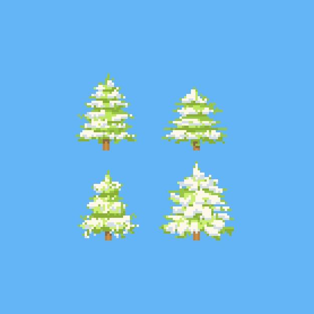 Pixel christmas tree with snow Premium Vector