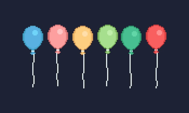 Pixel colorful balloon design for banner Vector | Premium Download