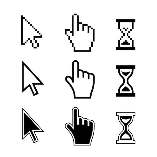 Пиксельные значки курсоров: песочные часы стрелка руки мыши. векторные иллюстрации Бесплатные векторы