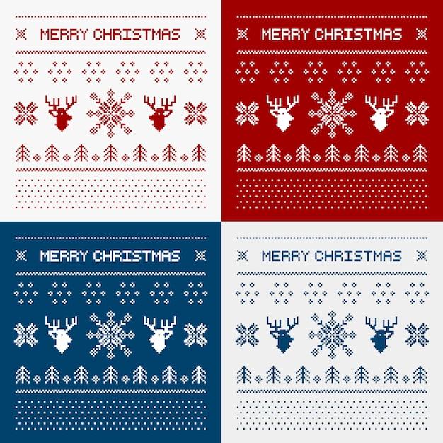 Пиксельные олени и рождественские деревья Premium векторы