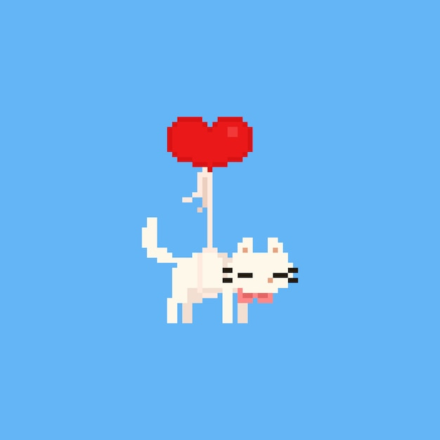 Pixel floating white cat with red heart balloon. valentine's day. Premium Vector