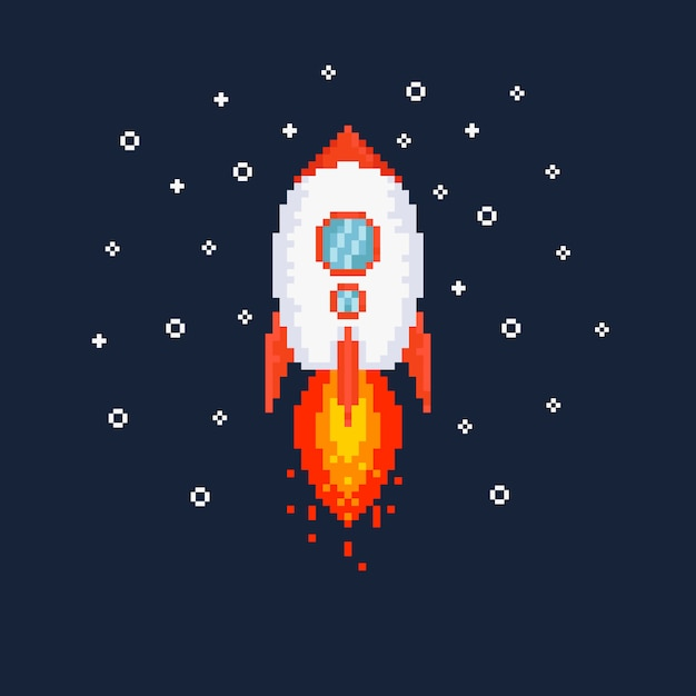 Pixel flying rocket illustration. Premium Vector