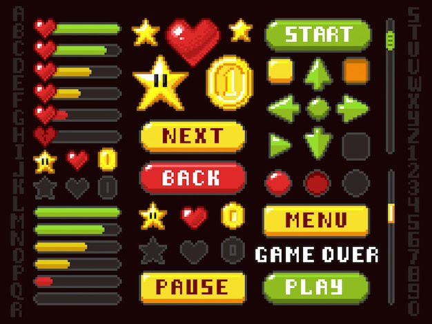 Pixel game buttons, navigation and notation elements and symbols vector set Premium Vector