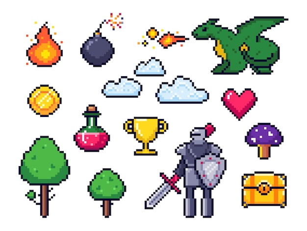 Pixel game elements. pixelated warrior and 8 bit pixels dragon. retro games clouds, trees and icons set Premium Vector