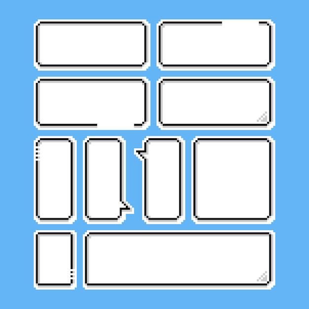 Pixel Game Speech Bubble Set.8bit. Vector