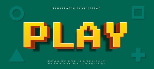 픽셀 게임 재미있는 텍스트 스타일 글꼴 효과 프리미엄 벡터