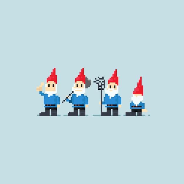 Pixel gnomes gang. Premium Vector
