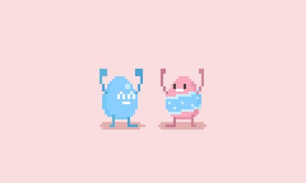 Pixel happy easter egg character Premium Vector