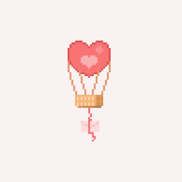 Premium Vector Pixel Heart Balloon With Letter Choose from 10+ pixel heart graphic resources and download in the form of png, eps, ai or psd. https www freepik com profile preagreement getstarted 3678378