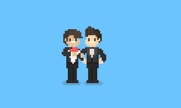 Pixel lgbt couple in groom uniform. 8bit pride day character. Premium Vector