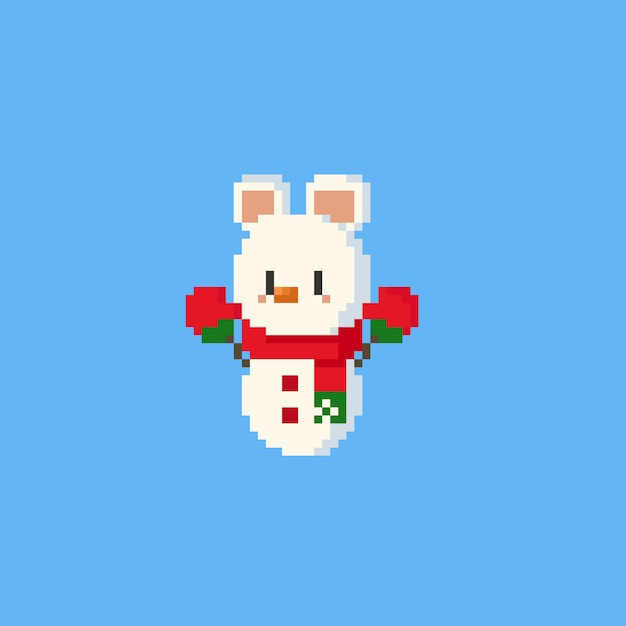 Pixel polar bear snowman character.christmasn.8bit. Premium Vector