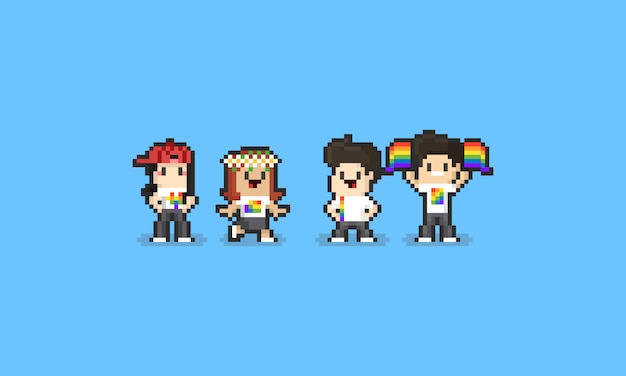 Pixel pride day cartoon character set. 8bit. lgbt. Premium Vector