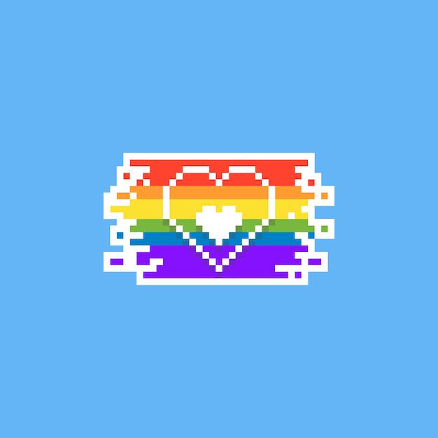 Pixel pride day heart design. 8bit. lgbt. Premium Vector