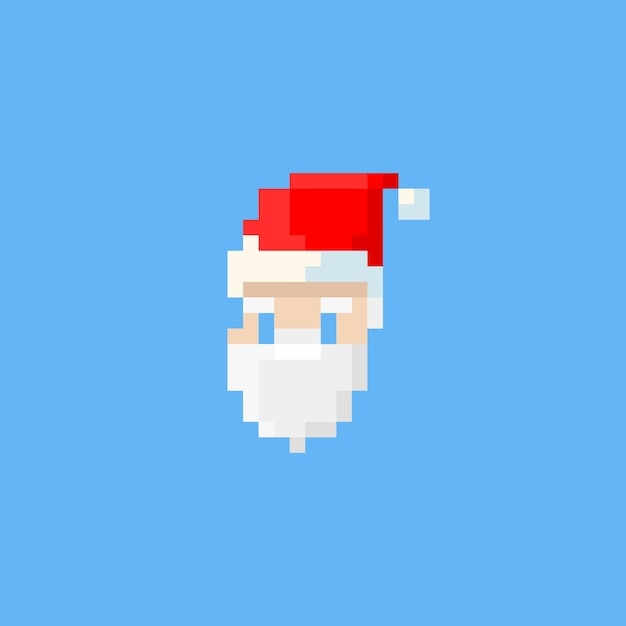 Pixel Santa Claus Head Vector Premium Download