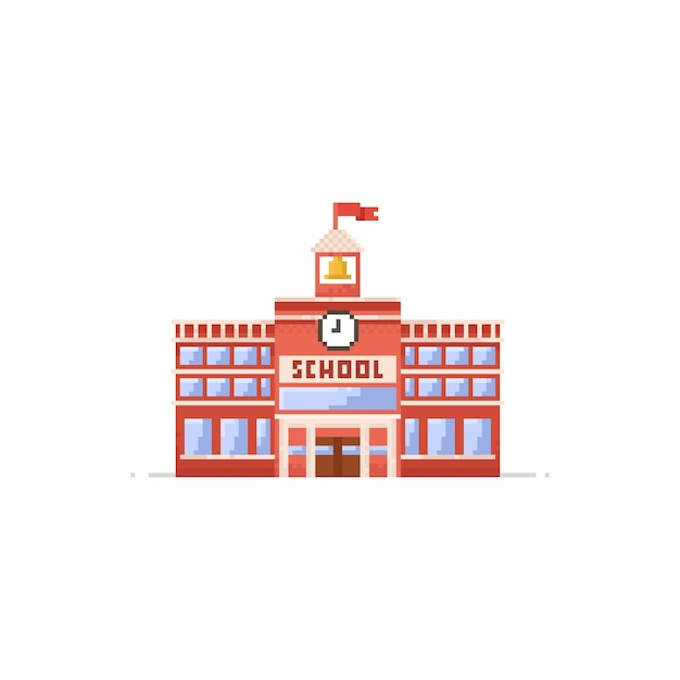 Pixel school building 8bit education icon  Vector | Premium