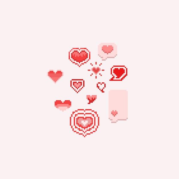 Pixel valentine cartoon hearts.8bit. Premium Vector
