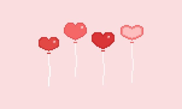 Pixel valentine heart balloon Premium Vector