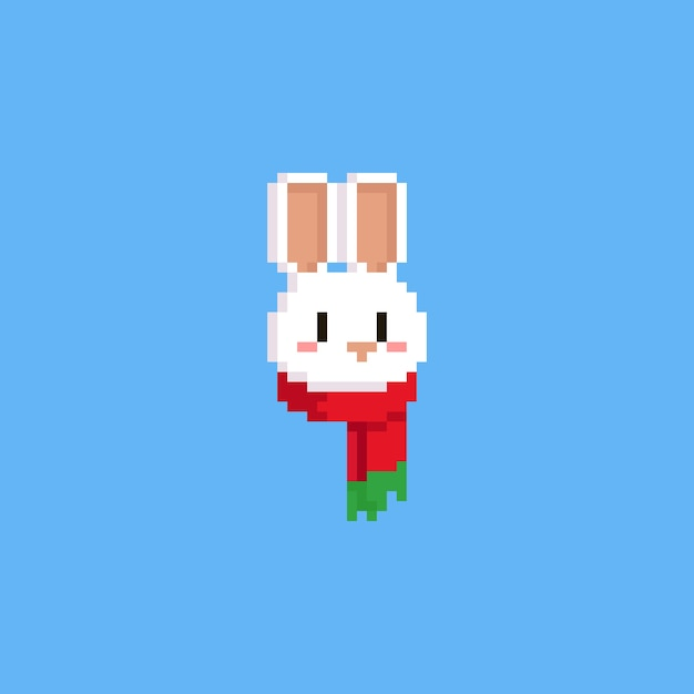 Pixel White Rabbit Head With Red Scarf Vector Premium Download