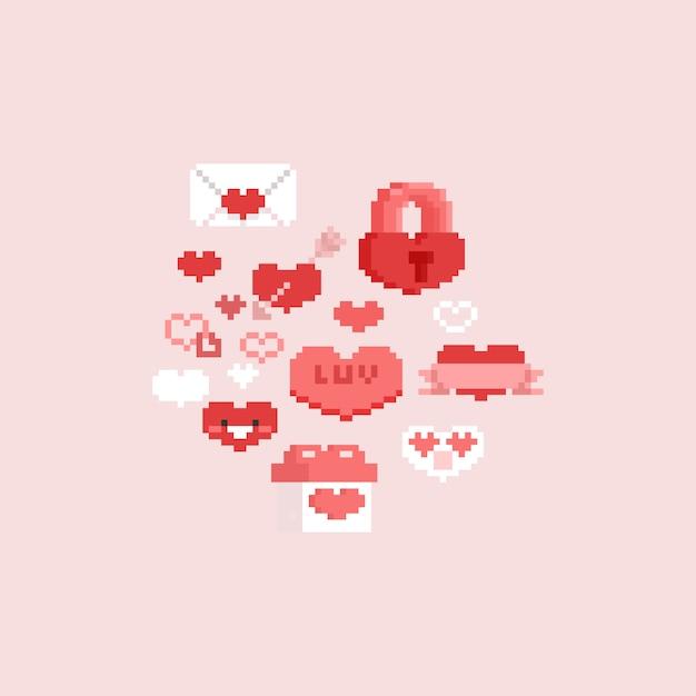 Набор элементов pixel валентина Premium векторы