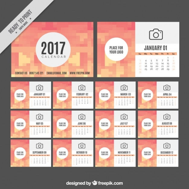 Pixelated 2017 calendar template Vector | Free Download