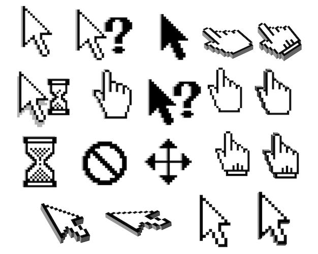 Пиксельные графические значки курсора стрелок, рук мыши, вопросительных знаков, песочных часов Premium векторы
