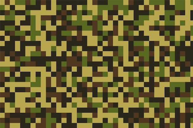 Pixelated military camouflage pattern texture Free Vector