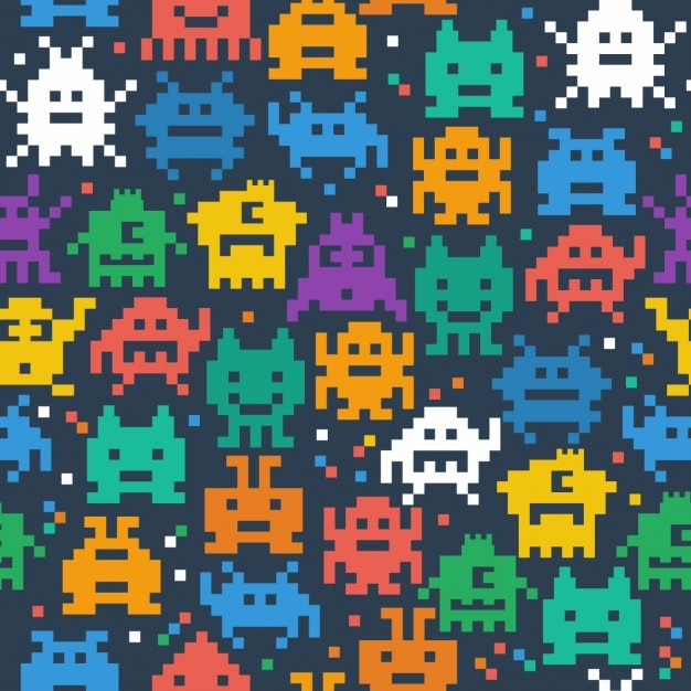 Pixelated monster pattern   Free Vector