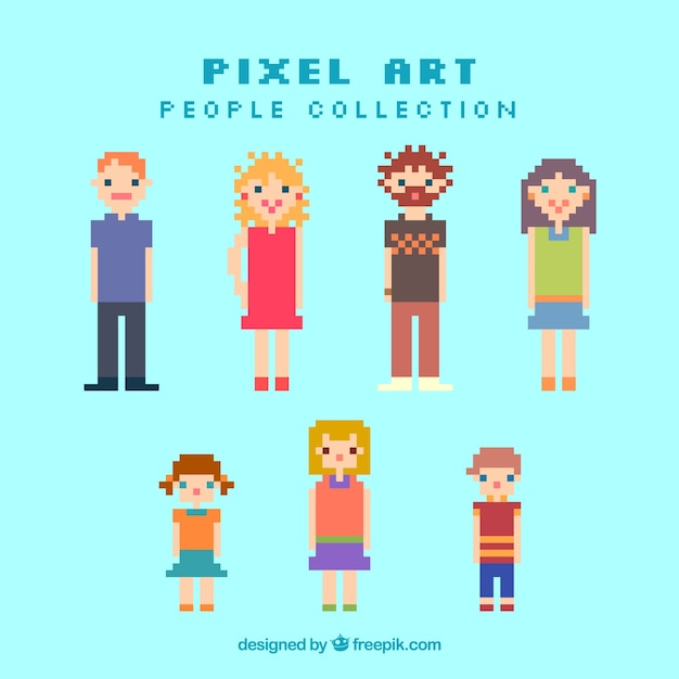 Pixelated people of different ages\ collection