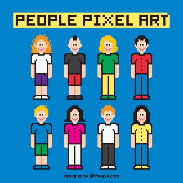 Pixelated people with outline