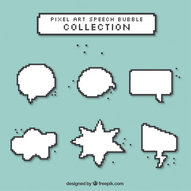 Pixelated Speech Bubbles In Different Shapes Vector